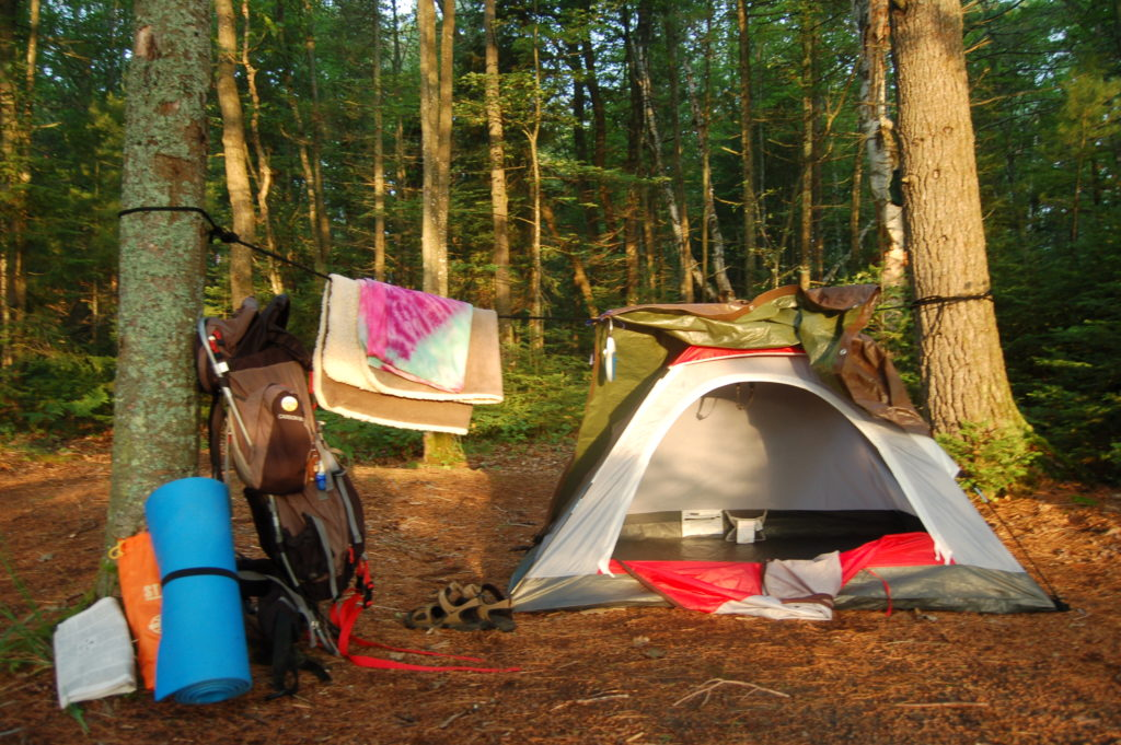 Tent set up in the Pigeon River State Forest